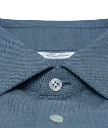 310$ BELVEST by FINAMORE Denim Blue Contrast Collar Shirt 7 Passages Hand-Sewn